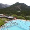 Fairmont Hot Springs Resort & hot pools from above.