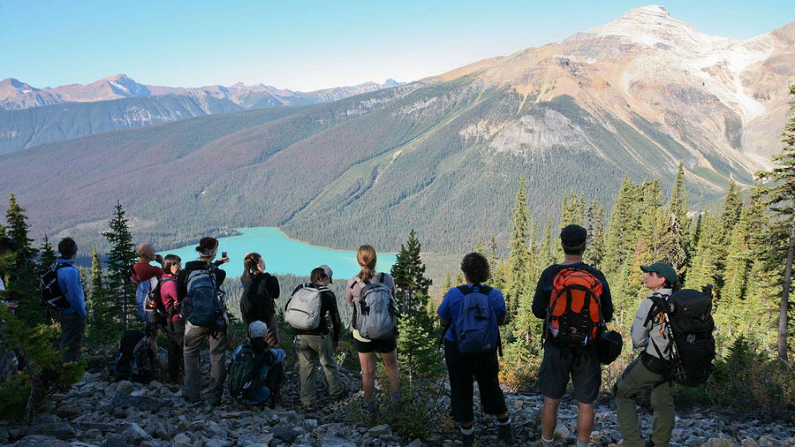 Overlooking Emerald Lake.