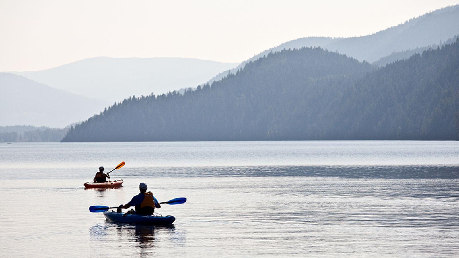 Kayaking on Moyie Lake.