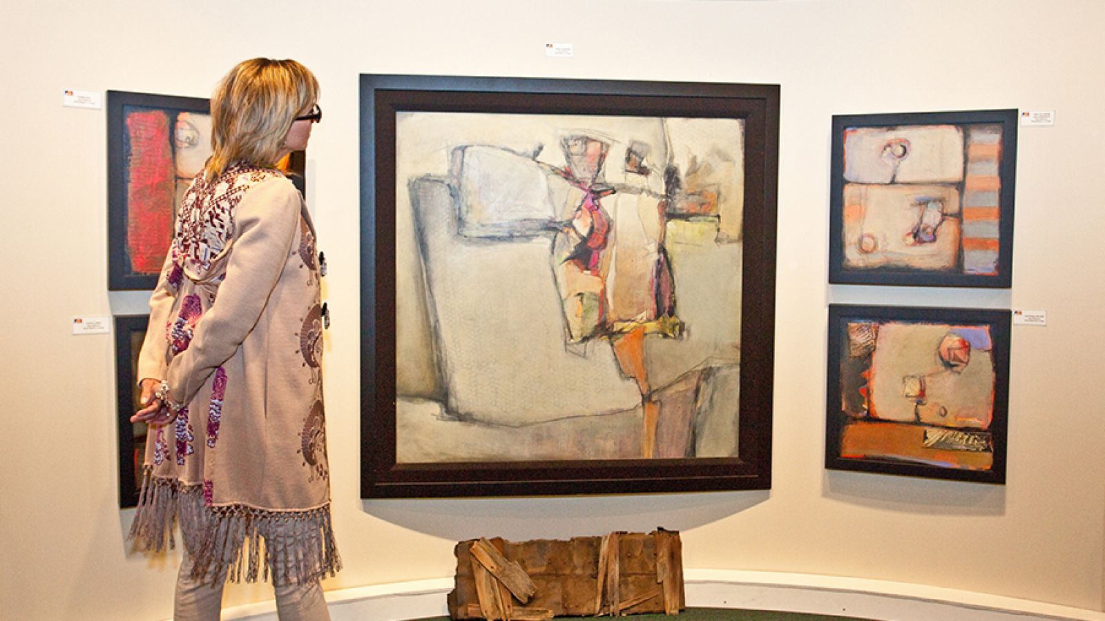 Numerous art exhibits are presented.