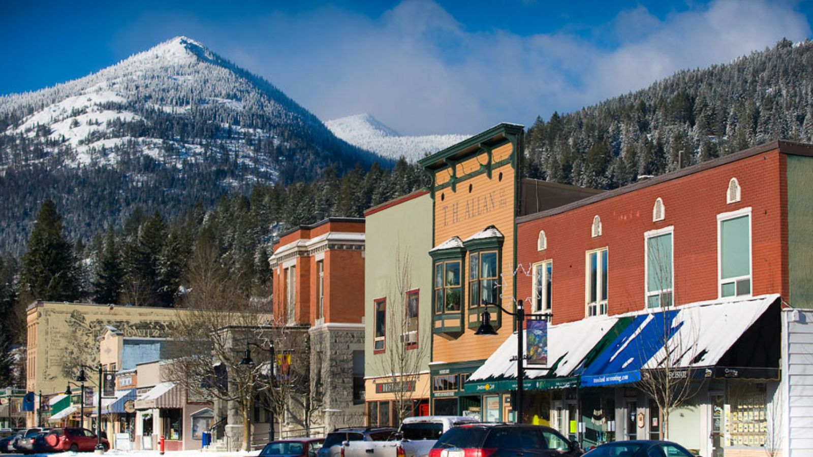 Heritage downtown Rossland in the winter.