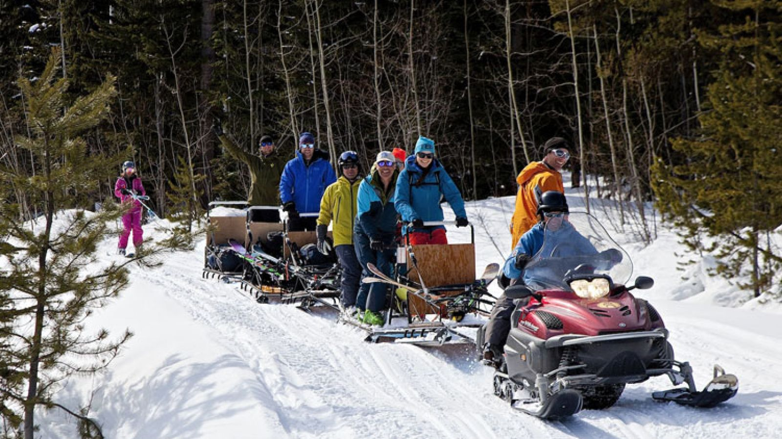 Snowmobile access ski touring.