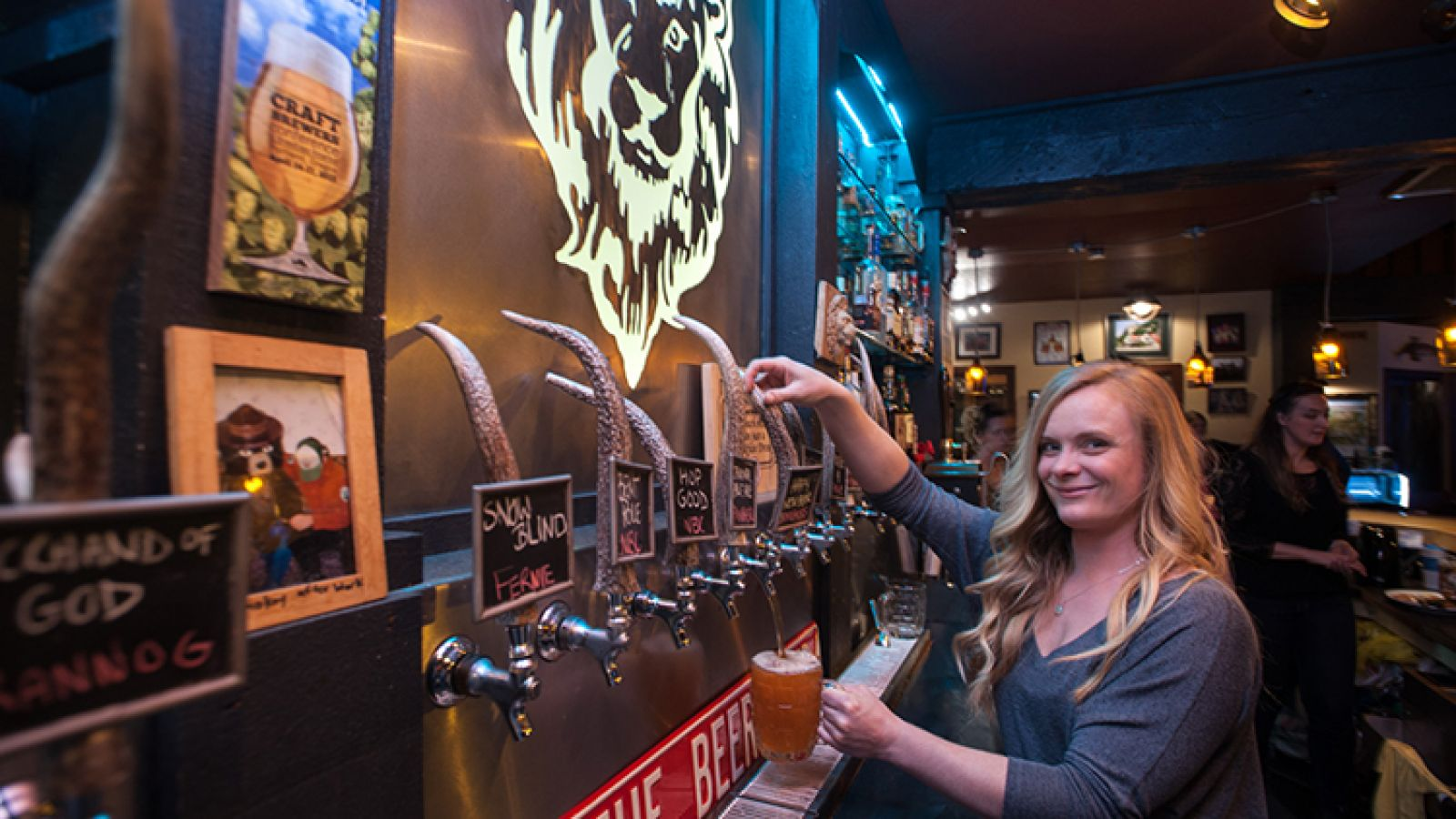 Twelve craft beers on tap
