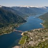 The city of Nelson and Kootenay Lake.