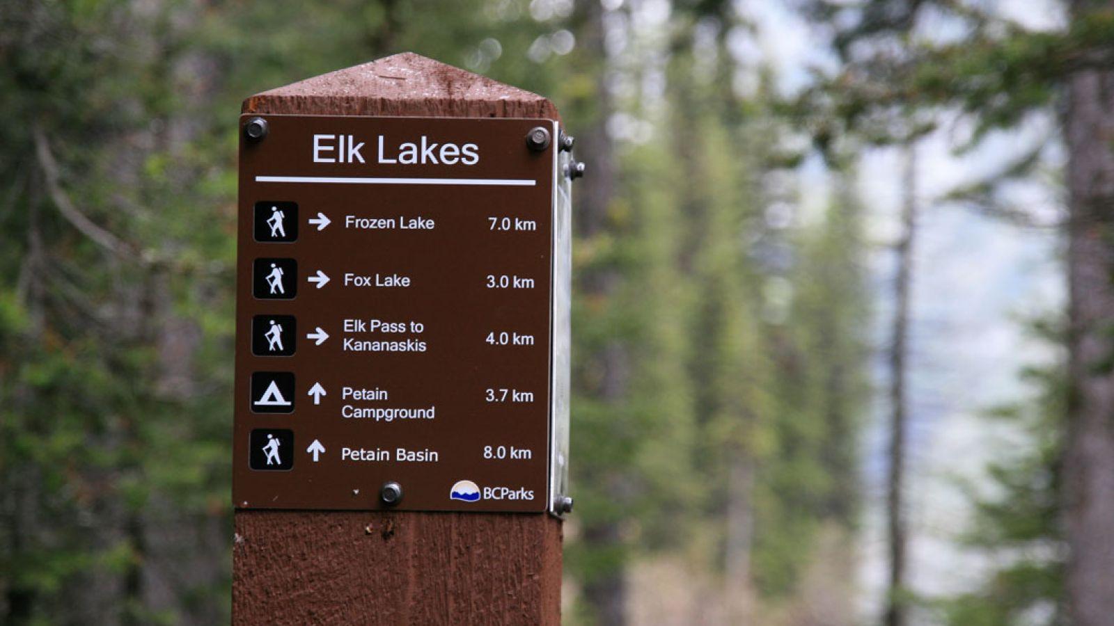 Elk Lakes Provincial Park signage.