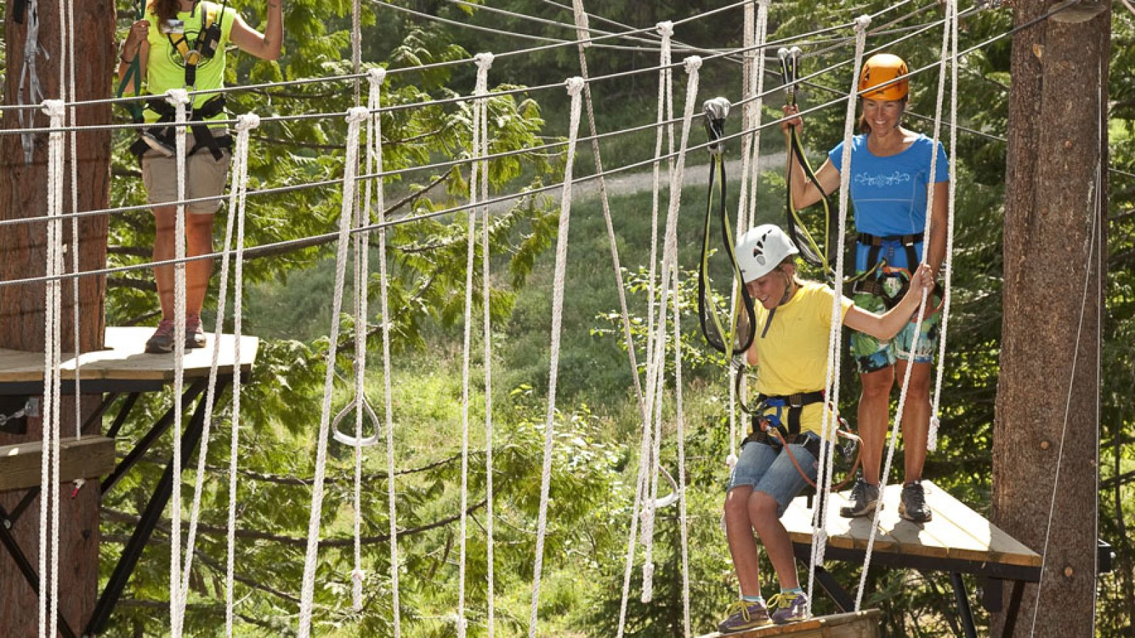 Tree-top Aerial Playground & Zipline at Fernie Resort.