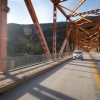 Driving on the Big Orange Bridge in Nelson.