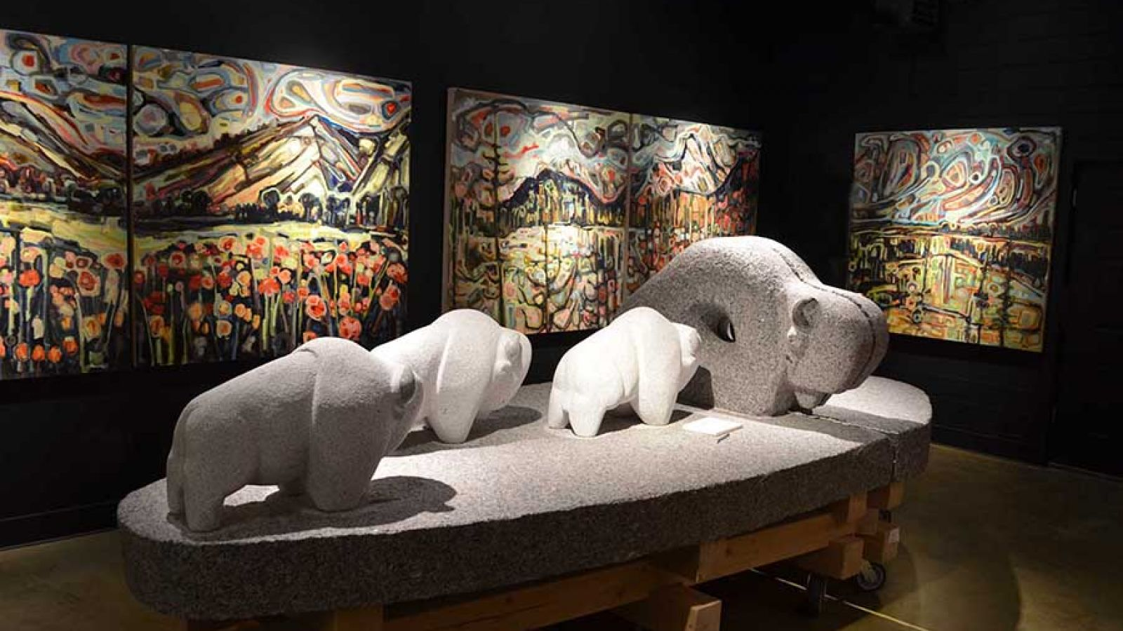 Sculptures: Stewart Steinhauer. Paintings: Sandy Kunze.