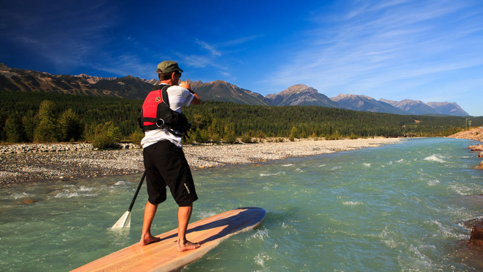 Stand Up Paddle Boarding on the Kicking Horse.