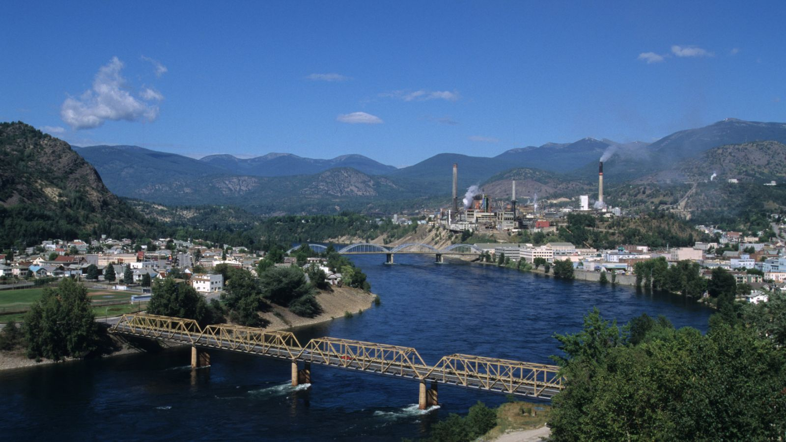 The city of Trail and the Columbia River from above.