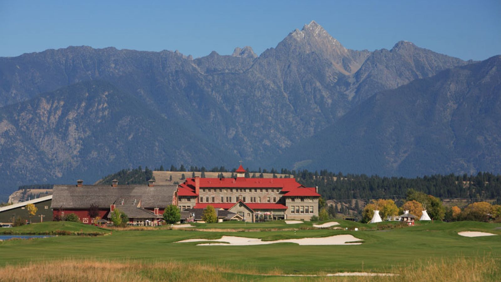St. Eugene Resort and the mighty Rocky Mountain backdrop.