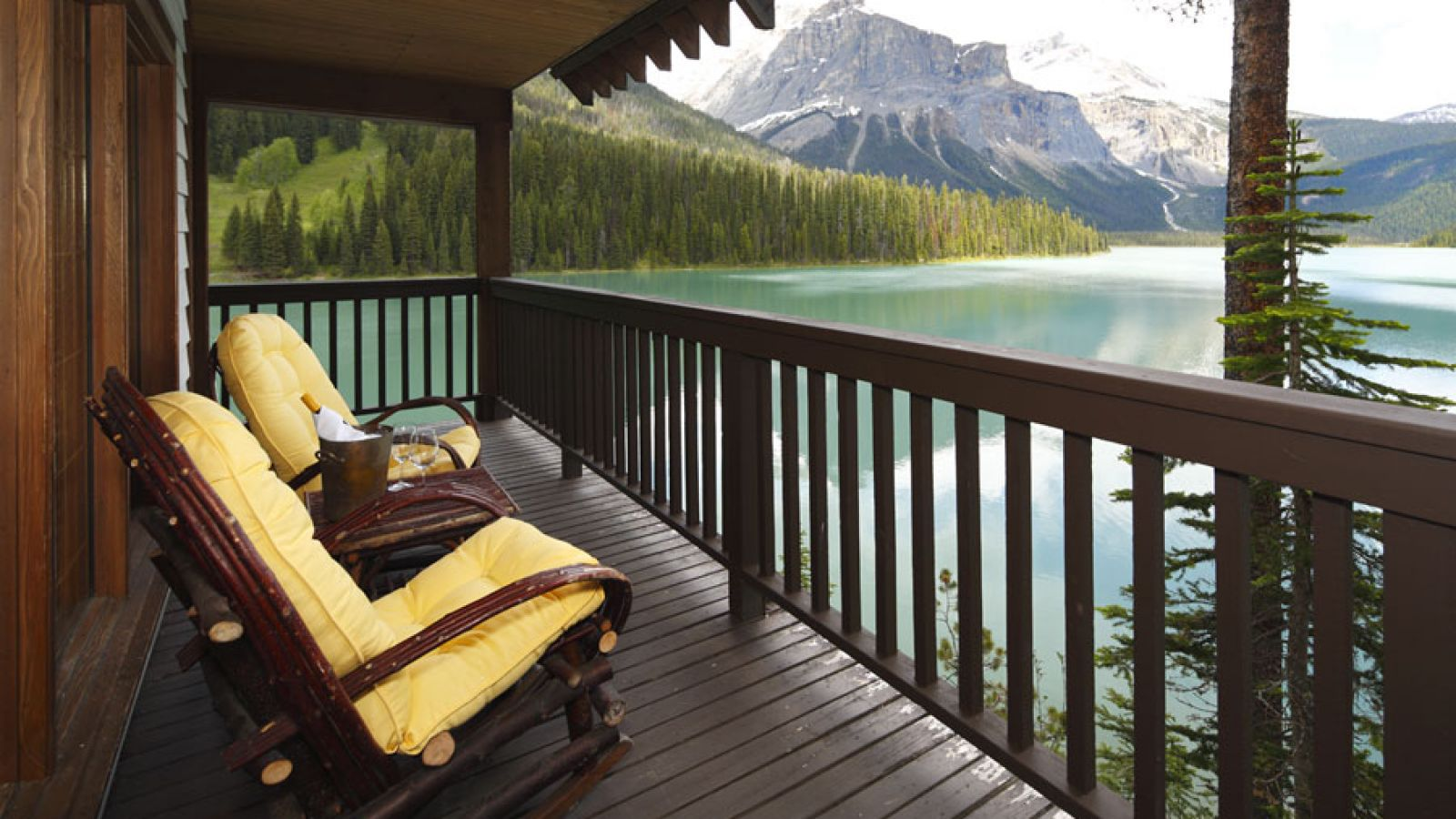 View of Emerald Lake from Point Cabin Balcony.