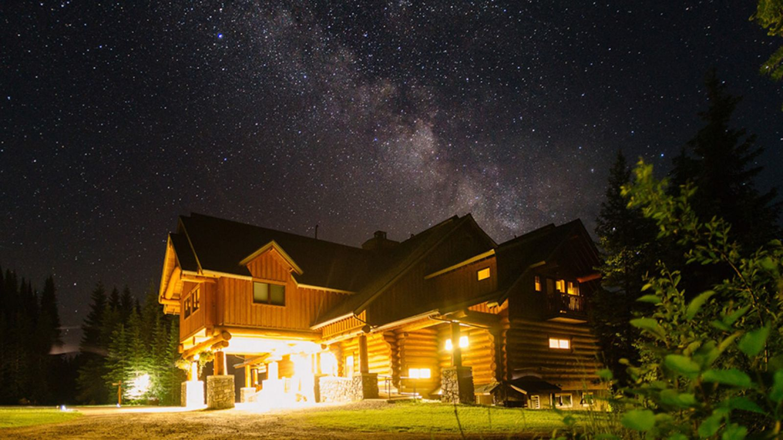 Island Lake Lodge in the night sky.