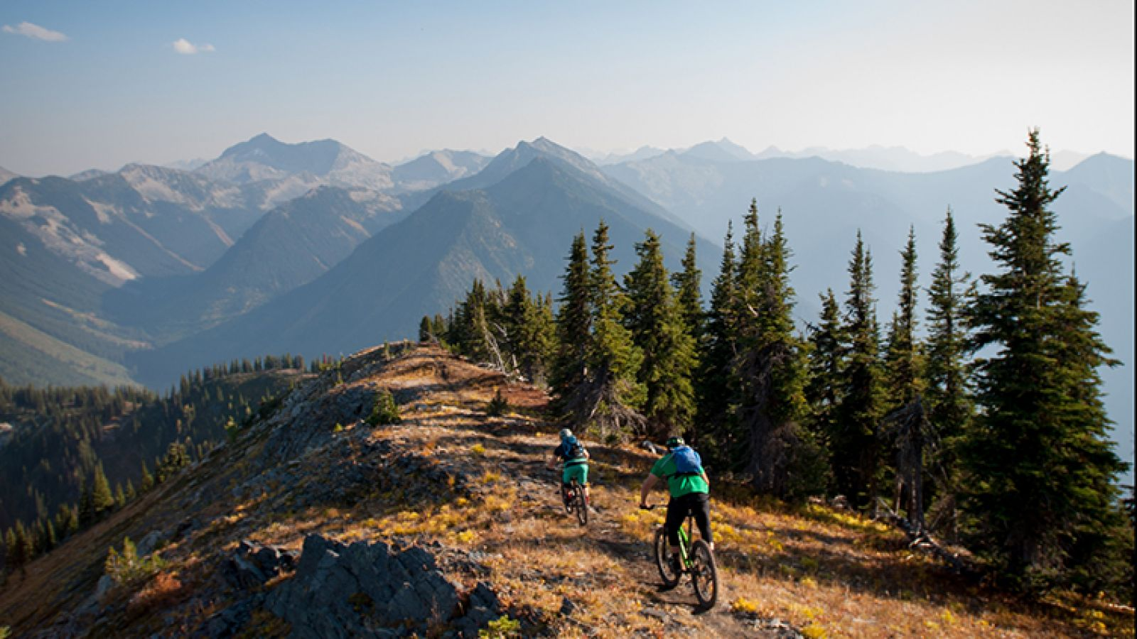 Biking in the Selkirk Mountains.