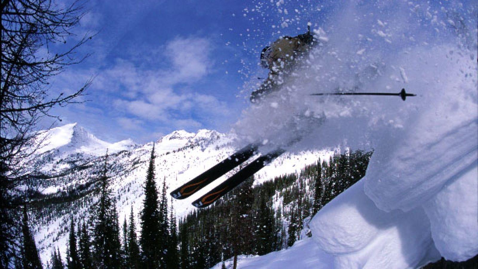 Skiing untouched terrain.