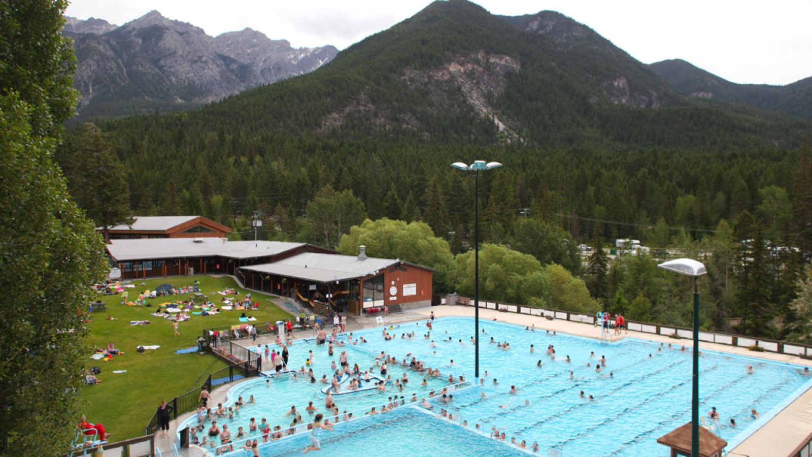 Fairmont Hot Springs Resort & pool from above.
